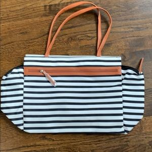 Striped oversized weekend travel bag